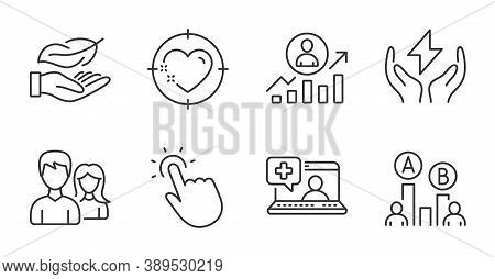 Couple, Touchpoint And Heart Target Line Icons Set. Career Ladder, Medical Help And Safe Energy Sign