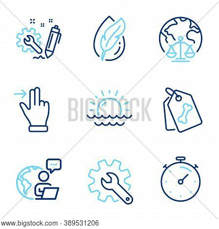 Business Icons Set. Included Icon As Magistrates Court, Touchscreen Gesture, Timer Signs. Sunset, En