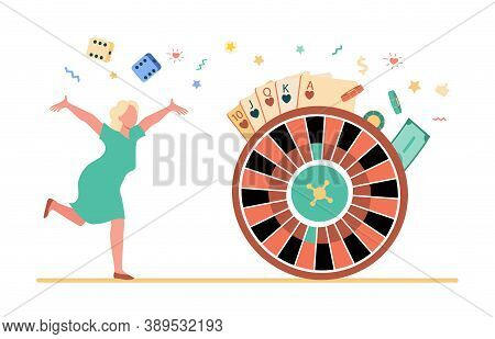 Excited Woman Enjoying Victory In Slot Machine. Wheel Fortune Vector Illustration. Gambling Concept