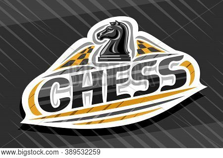 Vector Logo For Chess Sport, White Modern Emblem With Illustration Of Chess Knight On Chessboard, Un