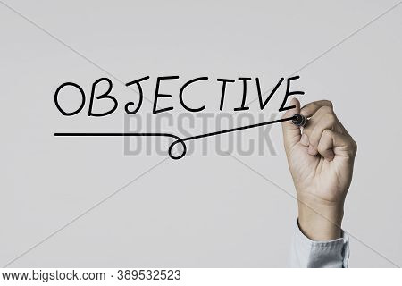 Concentrate Setup Objectives Target And Business Goal ,hand Writing Objective Wording On Board.