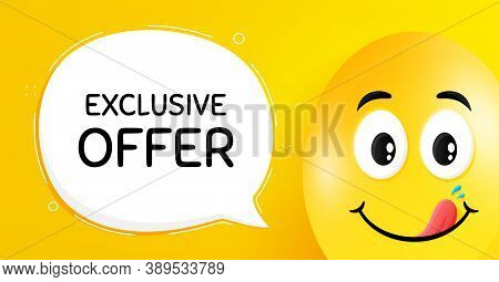 Exclusive Offer. Easter Egg With Yummy Smile Face. Sale Price Sign. Advertising Discounts Symbol. Ea