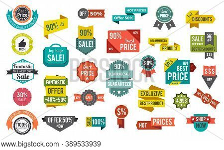 Collection Of Promotional Banners, Set Of Sales And Discount Stickers With Price And Percent. 50 And