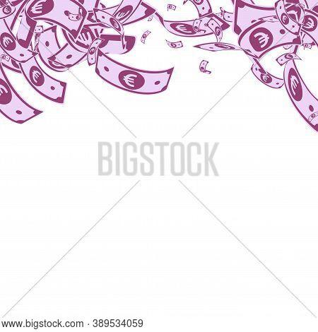 European Union Euro Notes Falling. Messy Eur Bills On White Background. Europe Money. Amazing Vector