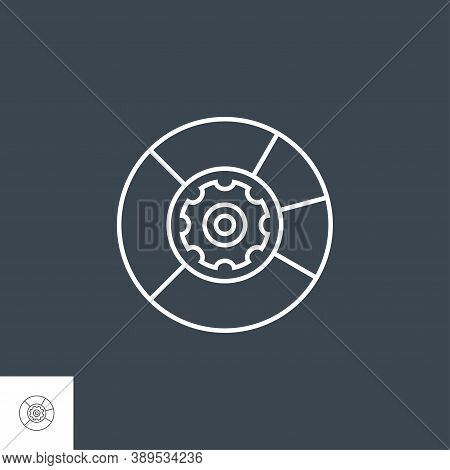 Data Menagement Related Vector Thin Line Icon. Isolated On Black Background. Editable Stroke. Vector