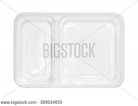 Plastic Food Box Two Compartment Separated Top View (with Clipping Path) Isolated On White Backgroun