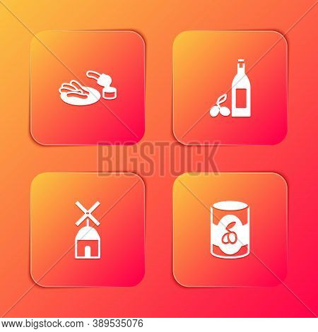 Set Churros And Chocolate, Bottle Of Olive Oil, Windmill And Olives Can Icon. Vector