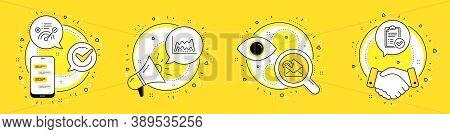 Receive Mail, Trade Chart And Correct Answer Line Icons Set. Cell Phone, Megaphone And Deal Vector I