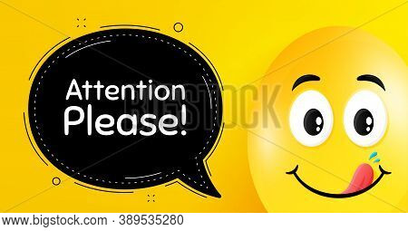 Attention Please. Easter Egg With Yummy Smile Face. Special Offer Sign. Important Information Symbol