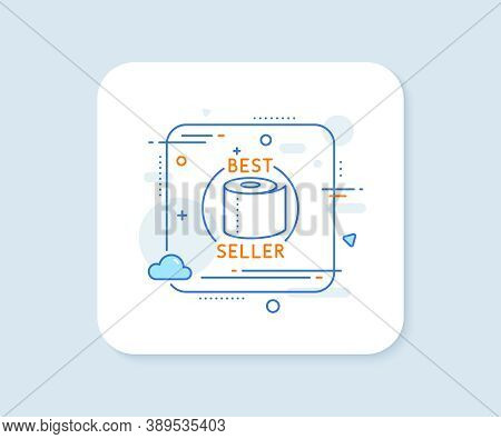 Toilet Paper Tissue Roll Line Icon. Abstract Square Vector Button. Best Seller Sign. Coronavirus Sho