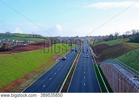Cars On A New Road Bypass After Construction