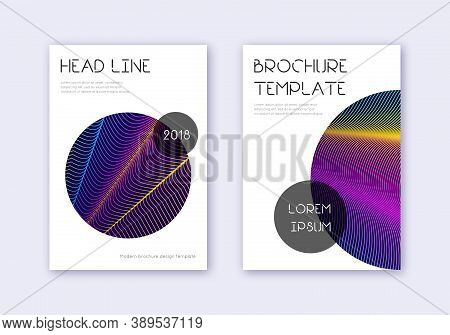 Trendy Cover Design Template Set. Rainbow Abstract Lines On Dark Blue Background. Glamorous Cover De