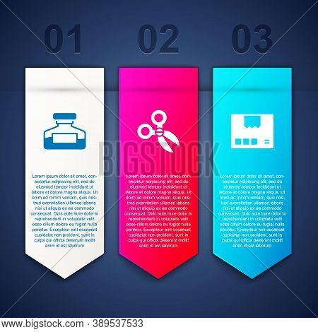 Set Ink Bottle, Scissors And Carton Cardboard Box. Business Infographic Template. Vector