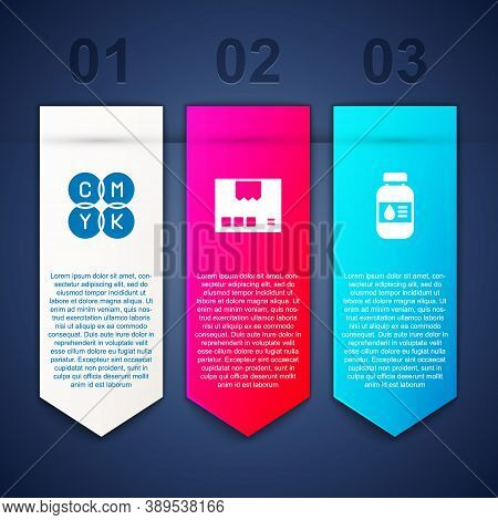 Set Cmyk Color Mixing, Carton Cardboard Box And Printer Ink Bottle. Business Infographic Template. V