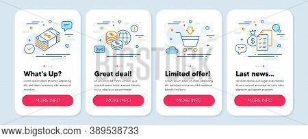 Set Of Finance Icons, Such As Online Market, Usd Currency, World Money Symbols. Mobile App Mockup Ba