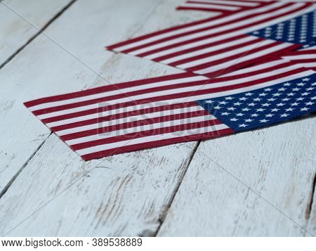 Electoral Vote In The United States. Political Elections. Suffrage Of Americans. Usa Flags And Elect