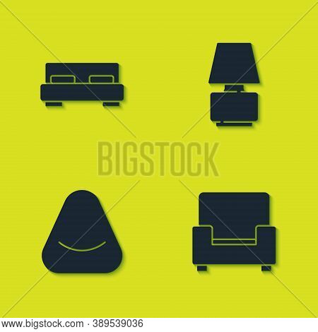 Set Big Bed, Armchair, Pouf And Table Lamp Icon. Vector
