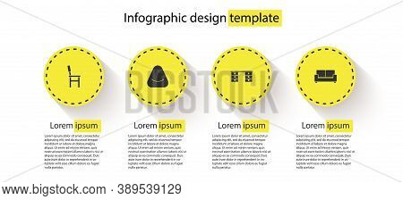 Set Chair, Pouf, Office Desk And Sofa. Business Infographic Template. Vector