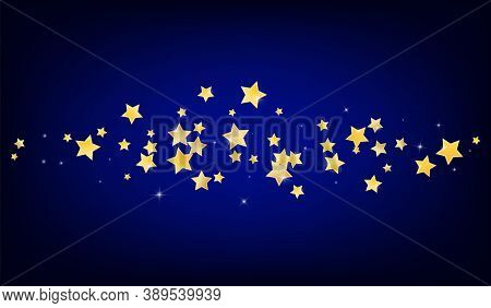 Golden Abstract Stars Vector Blue Background. Decoration Starry Border. Shine Template. Gold Shimmer