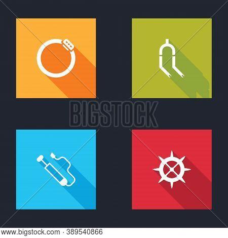 Set Bicycle Brake Disc, Fork, Air Pump And Sprocket Crank Icon. Vector