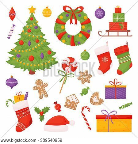 Set Of Christmas Items. Christmas Tree, Socks, Candies, Gifts And More. Vector Illustration Isolated