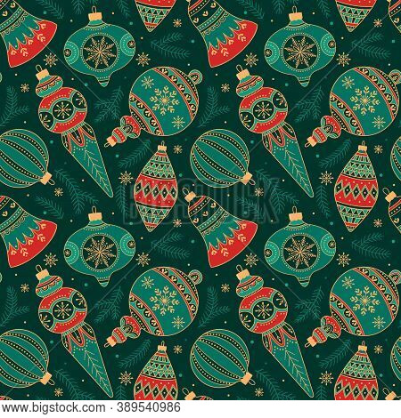 Seamless Pattern With Christmas Decor. Vector Illustration For Christmas And New Year. Perfect For B