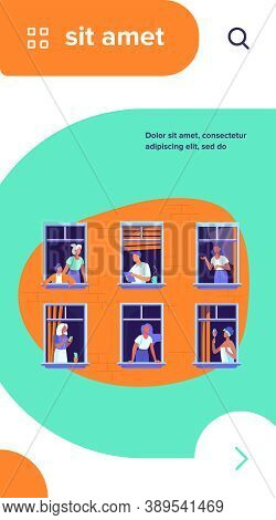 Apartment Building With People In Open Window Spaces. Neighbors Drinking Coffee, Talking, Using Cell