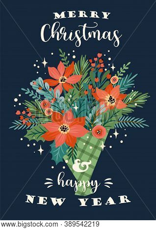 Christmas And Happy New Year Illustration Of Christmas Bouquet. Vector Design Template.