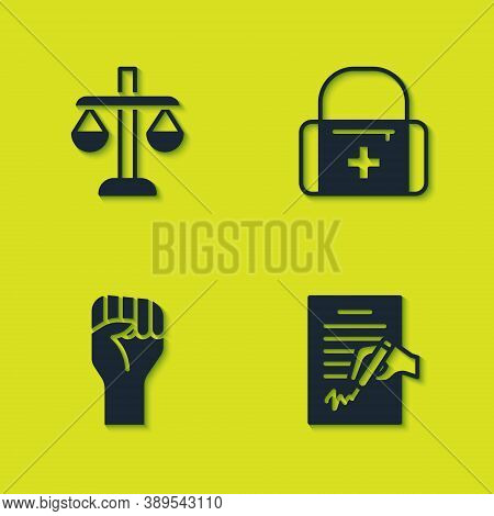 Set Scales Of Justice, Petition, Raised Hand With Clenched Fist And First Aid Kit Icon. Vector