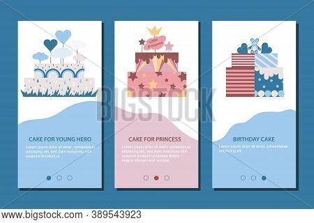 Decorated Sweet Cakes Set. Mobile App Page Cake For Princess, Cake For Young Hero, Cake Birthday Cak