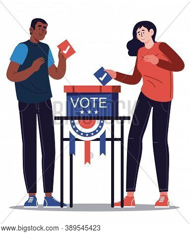Presidential Election Banner Background. Usa Presidential Election 2020. Man And Woman Putting Votin