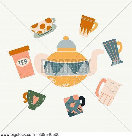 Tea Utensil Illustration. Hand Drawn Textured Colorful Kitchen Cartoon Ceramic Tableware, Cute Teapo