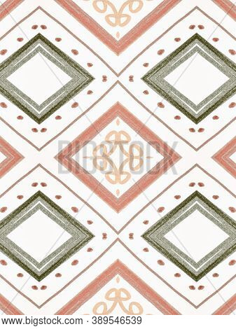 Blue Ethnic Pattern. Abstract Tribal Wallpaper. Boho Fabric Design. Seamless Navajo Border. Watercol