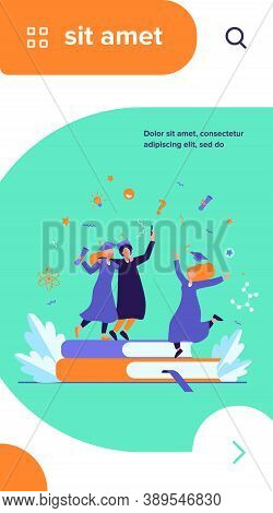 Happy Students Graduating With Academic Diploma Flat Vector Illustration. Cartoon Girls And Guy Cele