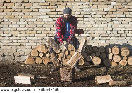The Bearded Lumberjack Worker Is Cutting Firewood With Axe On Brick Wall Background.