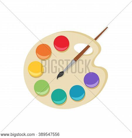 Paint Palette And Brush Isolated On White Background. Color Palette Concep.t Vector Stock