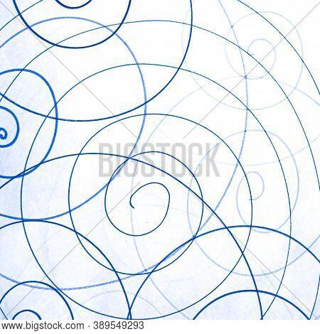 Blue Artistic Scribble Wallpaper. Tangled Pen Painting. Child Modern Spiral. Geometric Circular Desi