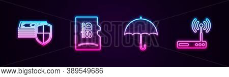 Set Line Money Protection, Micro Sd Memory Card, Umbrella And Router And Wi-fi. Glowing Neon Icon. V