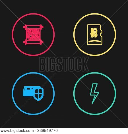 Set Line Money Protection, Lightning Bolt, Micro Sd Memory Card And Paper Scroll Icon. Vector
