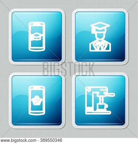 Set Line Graduation Cap On Mobile, Graduate With Graduation, Shopping Basket And Coffee Machine And