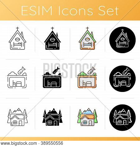 Temporary Supportive Housing Icons Set. Night Time Shelter Opportunity. Church. Bunker. Civil Defenc