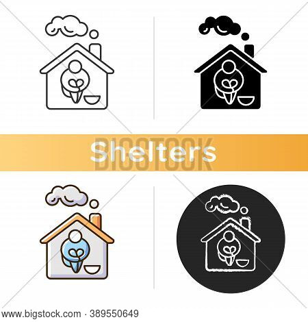 Homeless Shelter Icon. Temporary Residence For Homeless Individuals And Families. Safety And Protect