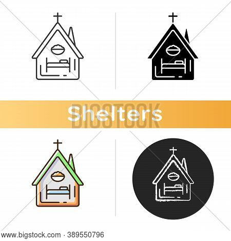 Religious Shelter Icon. Night Time Shelter Opportunity. Church. Synagogue. Homeless Prevention. Emer