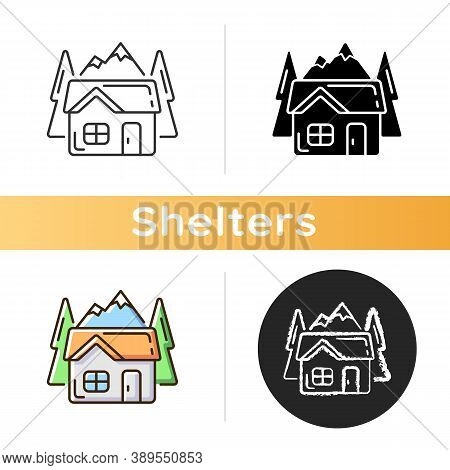 Bothy Icon. Mountain Cabin. Wilderness Hut. Hiking And Mountain Recreation. Tourism Building. Emerge