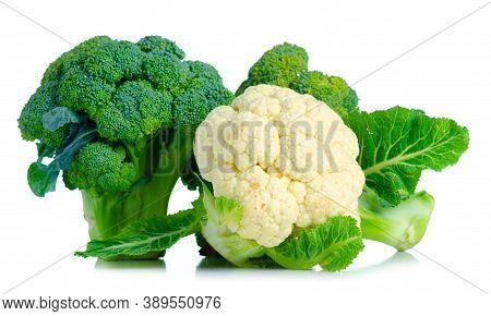 Fresh Broccoli Raw Food And Cauliflower On White Background Isolation