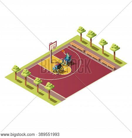 Sport Players With Ball, People With Disabilities. Isometric Composition With Two Invalids In Wheelc
