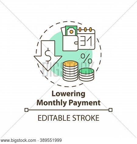 Lowering Monthly Payment Concept Icon. Mortgage Refinance Benefit Idea Thin Line Illustration. Refin