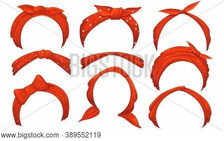 Girlish Hairbands Set. Red Bandana With Bow, Tied Handkerchief, Headbands. Isolated Vector Illustrat