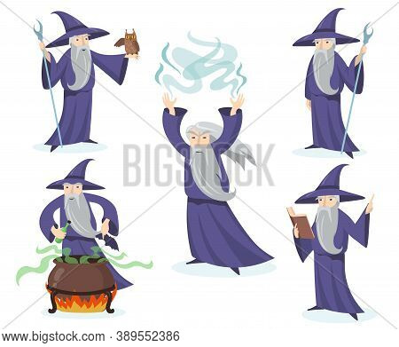 Medieval Magician Set. Wizard In Hat And Gown Using Different Accessory, Mage With Owl, Warlock Boil