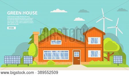 Green Energy An Eco Friendly Traditional Suburban American House. Solar, Wind Power.family Home.town